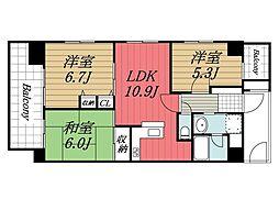 千葉県東金市田間の賃貸マンションの間取り