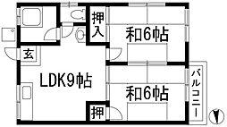 大阪府豊中市待兼山町の賃貸アパートの間取り