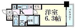 JR大阪環状線 野田駅 徒歩10分の賃貸マンション 7階1Kの間取り