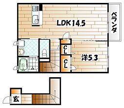 福岡県北九州市若松区西園町の賃貸アパートの間取り