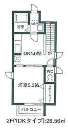 埼玉県さいたま市浦和区瀬ケ崎2丁目の賃貸アパートの間取り