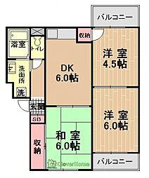 神奈川県相模原市中央区陽光台1丁目の賃貸マンションの間取り