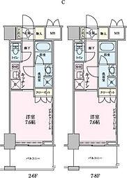 ロイジェントパークス赤坂[4階]の間取り
