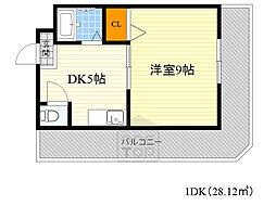 BellKip 6階1DKの間取り