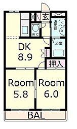滋賀県愛知郡愛荘町島川の賃貸アパートの間取り