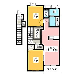 愛知県豊川市大崎町小林の賃貸アパートの間取り