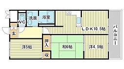 プレステージ姫路Ⅲ[2階]の間取り