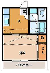 アップステージ多賀城(アップワード)[203号室]の間取り