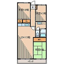カームタウン相模が丘[1階]の間取り
