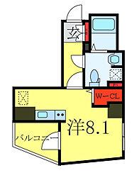 ピュアレジデンス小石川 3階ワンルームの間取り