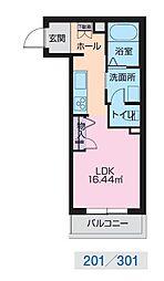 JR奥羽本線 山形駅 幸町下車 徒歩1分の賃貸マンション 2階ワンルームの間取り