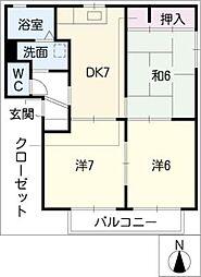 ベルデュール・メゾンA棟[2階]の間取り