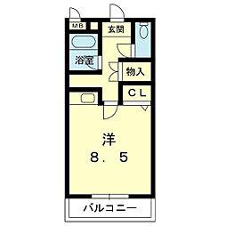 ビルディング大和 3階ワンルームの間取り