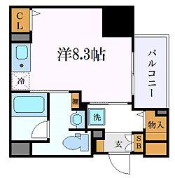 名古屋市営東山線 新栄町駅 徒歩8分の賃貸マンション 13階ワンルームの間取り
