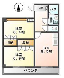 愛知県あま市西今宿六反地五の賃貸マンションの間取り