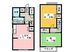 [テラスハウス] 神奈川県茅ヶ崎市今宿 の賃貸【神奈川県 / 茅ヶ崎市】の間取り