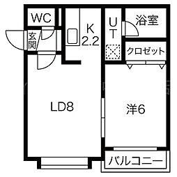 北海道札幌市清田区平岡十条1丁目の賃貸マンションの間取り