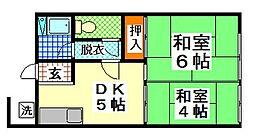 兵庫県神戸市長田区源平町の賃貸アパートの間取り