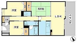 兵庫県姫路市材木町の賃貸マンションの間取り