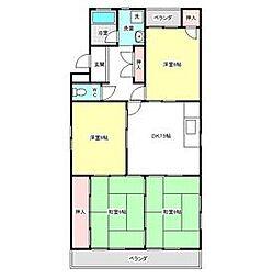 愛知県名古屋市天白区中平3丁目の賃貸マンションの間取り