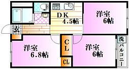 戸坂コーポラス[3階]の間取り