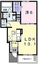 ベル・ソレイユ 1階1LDKの間取り