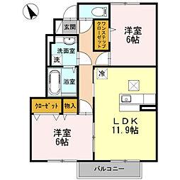 兵庫県姫路市中地の賃貸アパートの間取り