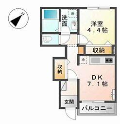 広島県広島市佐伯区坪井2丁目の賃貸アパートの間取り