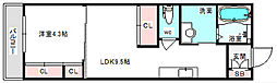 JR東海道・山陽本線 吹田駅 徒歩4分の賃貸マンション 2階1LDKの間取り