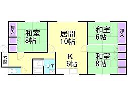 知利別町2丁目7−2アパート 2階3LDKの間取り