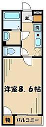多摩都市モノレール 大塚・帝京大学駅 徒歩17分の賃貸アパート 2階1Kの間取り
