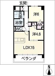 グランドソレイユ蟹江 3階2LDKの間取り