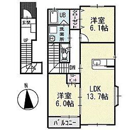 double eight apartment 2階[201号室]の間取り