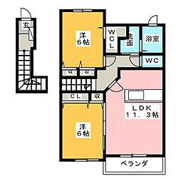 セレーノ・スパッツィオIIB棟[2階]の間取り