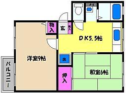 兵庫県芦屋市大原町の賃貸アパートの間取り