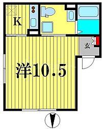 エアリアル錦糸町 5階1Kの間取り