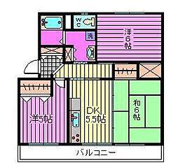 須賀第6ビル[203号室]の間取り