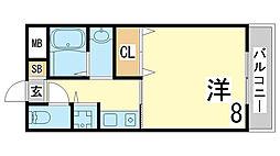神戸市西神・山手線 伊川谷駅 徒歩7分の賃貸マンション 3階1Kの間取り