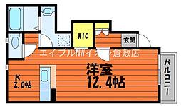 JR宇野線 早島駅 徒歩16分の賃貸アパート 1階1Kの間取り