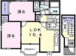 愛知県西尾市今川町宮東の賃貸アパートの間取り