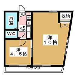 クレセント赤坂[4階]の間取り