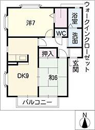 愛知県名古屋市北区如意3丁目の賃貸アパートの間取り