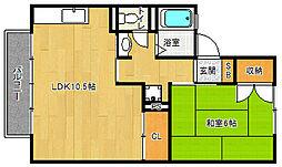 京都府京都市北区紫竹上緑町の賃貸アパートの間取り