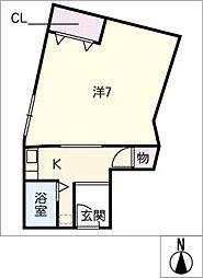 コーポ赤鶏[2階]の間取り