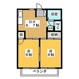 ハイツ新田B[2階]の間取り