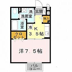 大阪府泉佐野市市場西1丁目の賃貸アパートの間取り