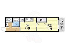 ドムスドイ 6階1DKの間取り
