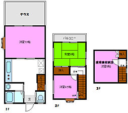 [テラスハウス] 千葉県松戸市大金平3丁目 の賃貸【/】の間取り