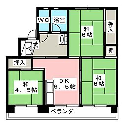 ビレッジハウス田原 2号棟[1階]の間取り