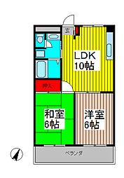 ミナモトマンションII[2階]の間取り